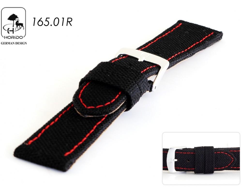 Pasek skórzano-parciany do zegarka 18 mm HORIDO 165.01R