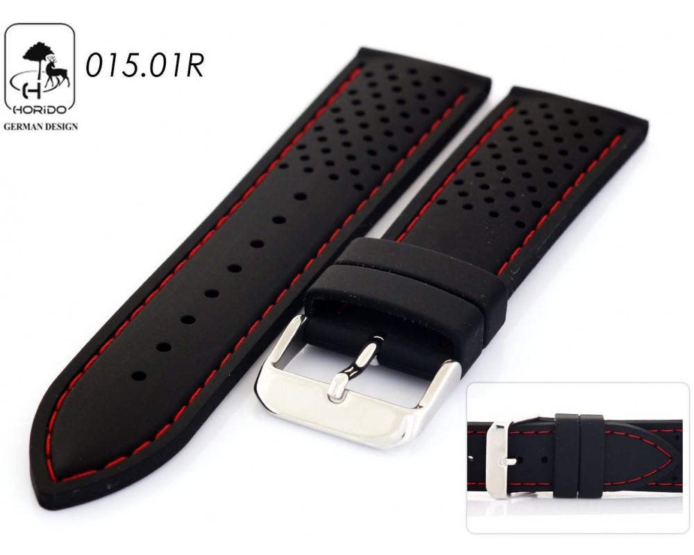 Pasek do zegarka kauczukowy 18-24 mm HORIDO 015.01R z czerwoną nicią